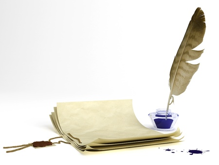 prose: Old paper with a wax seal and quill pen