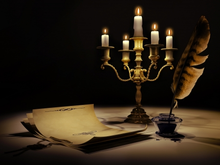 poem: Vintage style paper, candelabrum, pen and ink  Stock Photo