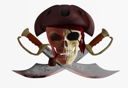 piratenhoed: Schedel piratenhoed met gekruiste messen