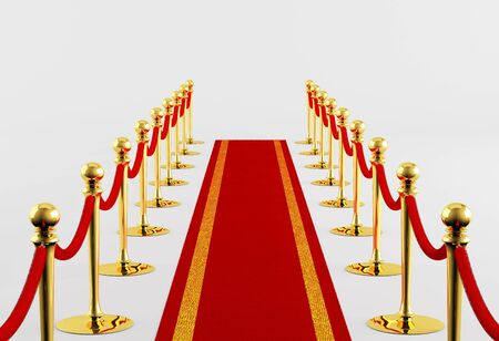 red velvet rope: Red carpet with golden fence on a white background Stock Photo