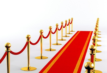 Red carpet with golden fence on a white background Stockfoto