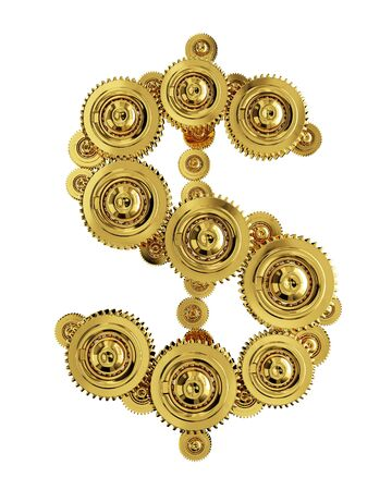 Dollar sign in the form of a gear mechanism of gold