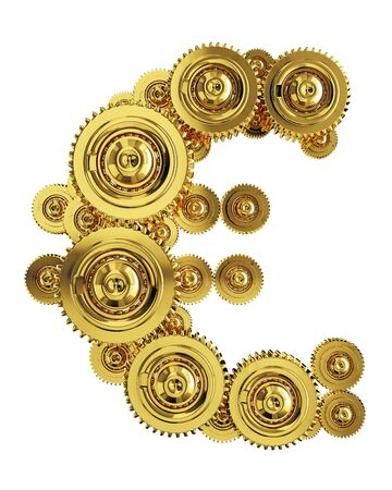 Euro sign in the form of a gear mechanism of gold Stockfoto