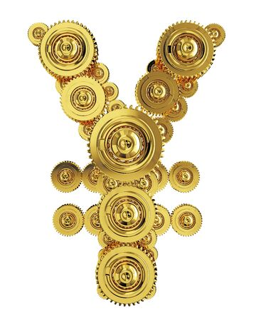 Yen sign in the form of a gear mechanism of gold Stockfoto