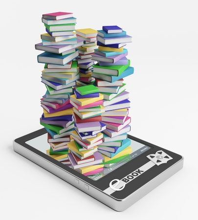 Stacks of ordinary books grow from display