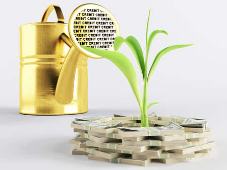 Green sprout represents a growing business Stock Photo