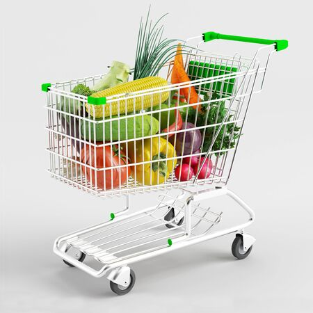 A variety of vegetables in a shopping trolley on white background