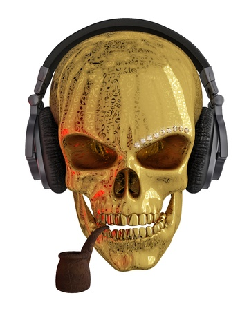 Golden skull with headphones  The skull is covered with ornaments Stockfoto
