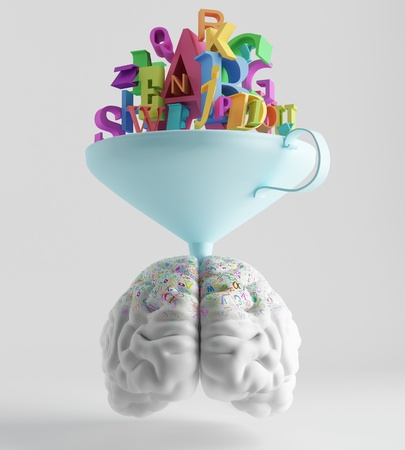 knowledge is poured through a funnel into the brain Stock Photo
