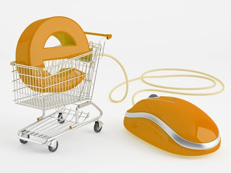 ecommerce: shopping carts operated computer mouse - the symbol of e-commerce