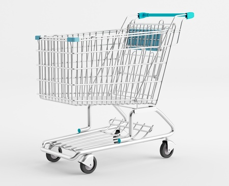 convenience store: Empty Shopping Cart on a white background Stock Photo