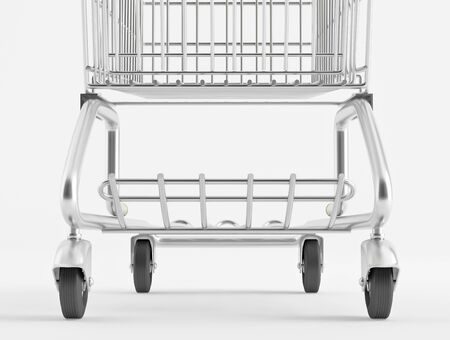 Lower part of the shopping cart closeup Stock Photo