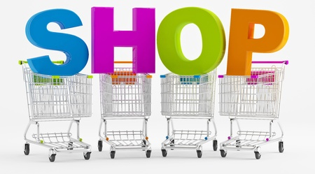 Shopping carts with large letters SHOP