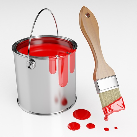 descriptive color: Paint brush next to a can of red paint