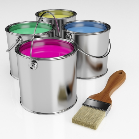 Paint brush next to the can of paint in different colors
