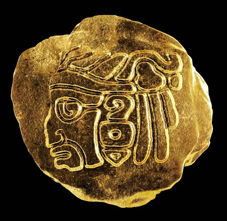 mayan prophecy: Gold ornament depicting the head of an Indian