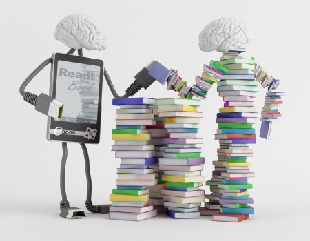 fictional character: Two fictional character symbolizing reading are measured force Stock Photo