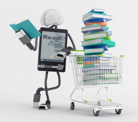 Character reading a book next to a cart full of books