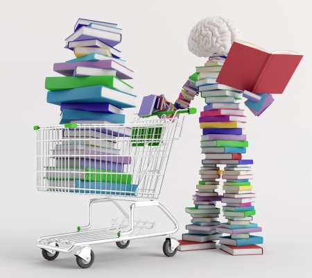 Character reading a book next to a cart full of books Stock Photo - 17166308