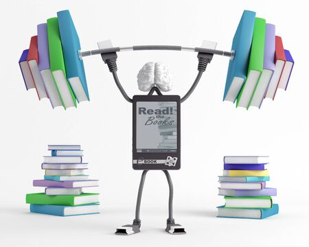E-Bookish man lifts a heavy barbell loaded with sports in the form of books Stock Photo - 17204937