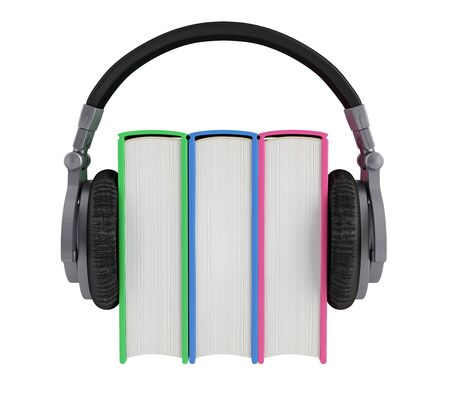 Headphones worn by the three colorful books