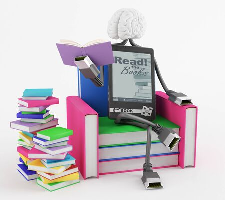 Character is sitting in the chair of the books and reading a book