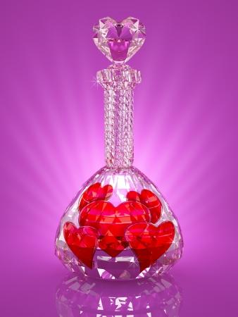 pocion: Magia frasco de cristal lleno de corazones rojos