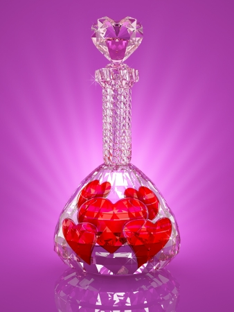 Magic crystal flask full of red hearts photo