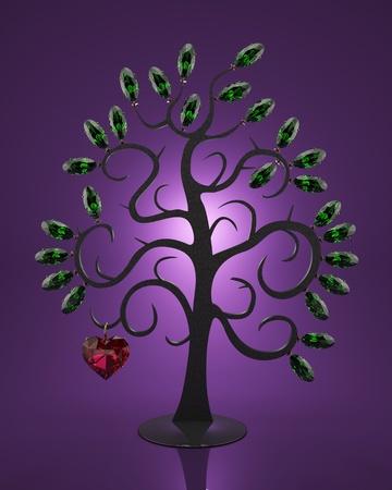 pierres pr�cieuses: Les bijoux faits de pierres pr�cieuses sous la forme d'un arbre Banque d'images