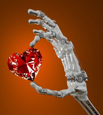 Robotic arm gently holding a heart-shaped diamond photo