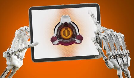 Robot holding a Tablet Computer