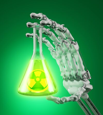 Laboratory flask with a radioactive liquid in the robot arm Stock Photo