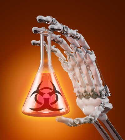 A test tube with a biological agent in a robotic arm  Stock Photo