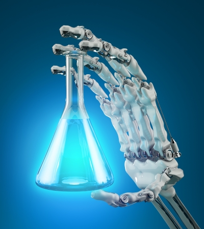 Chemical laboratory test tube in hand robot