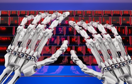 robot arm over the keyboard of a transparent red glass