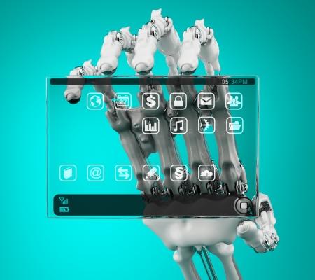 handheld computer: Robot holding a prototype handheld computer