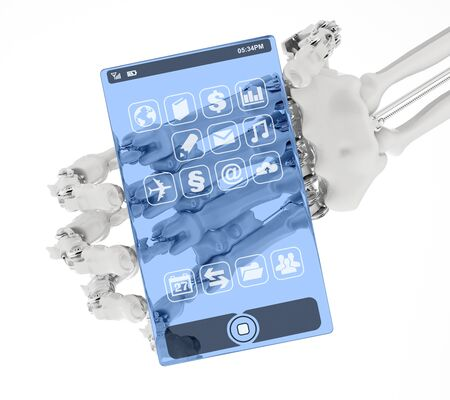 The arm holds a prototype of the transparent phone