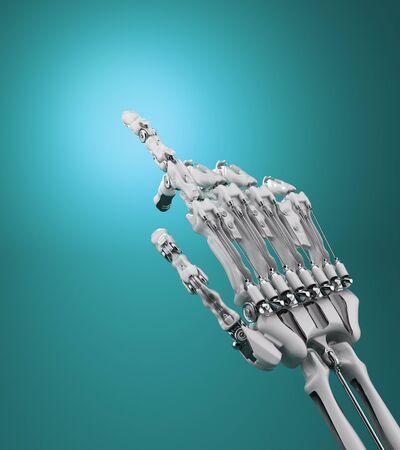 robotic arm presses imaginary button