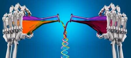 two liquids are mixed in a test tube of DNA molecule Stock Photo