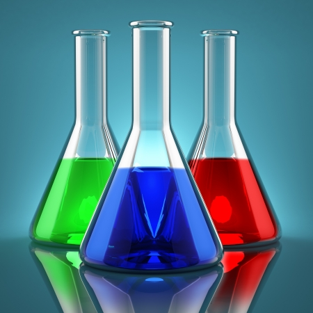 Chemicals of different colors in laboratory flasks