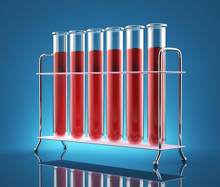 Test tubes with red liquid on a blue background photo