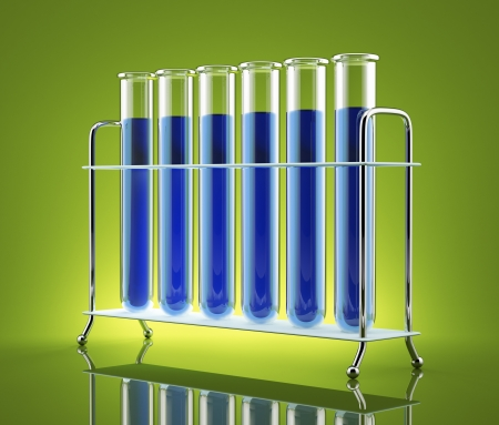 Test tubes with blue liquid on a green background
