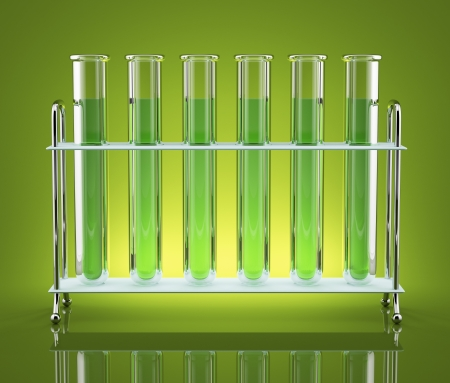 Test tubes with blue color reagents are ranked frontally