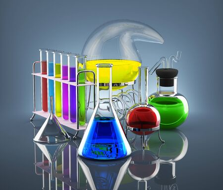 Various chemical vessels with colored chemicals symbolize science Standard-Bild
