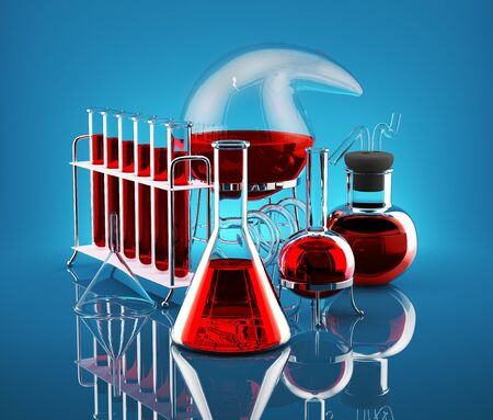 Laboratory flasks with reagents red on a blue background  Stock Photo