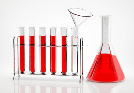 Red liquid is poured into the flask through a glass funnel