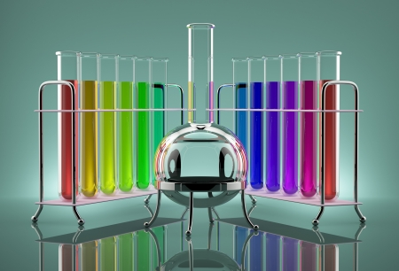 Colored chemical solutions in the tubes next to the bulb Stock Photo