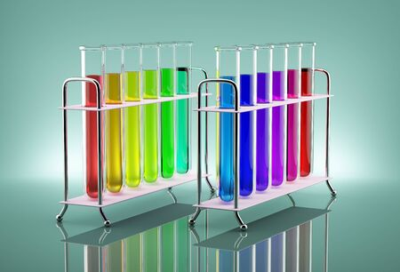 Colored chemical solutions in the tubes next to the bulb Stockfoto