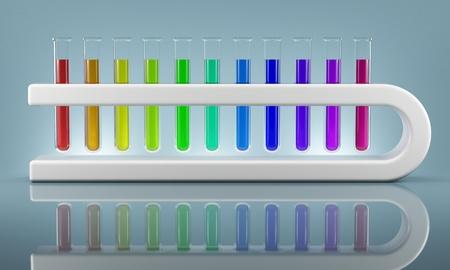 Set of chemical flasks in futuristic