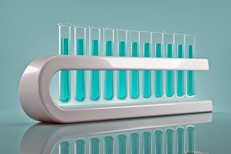 Test tubes with blue color reagents are ranked frontally  Stockfoto